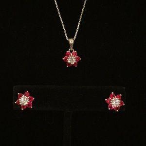 Sterling Silver Red Flower Necklace Earrings Set